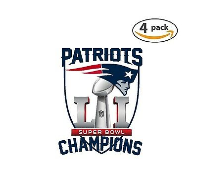 New England Patriots Super Bowl 51 Champions Decal Football 4 Stickers