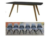 NEW Designer Black & Oak Table 185cm & 6 John Lewis Black Tulip Chairs FREE DELIVERY 778