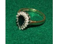 Diamond & Sapphire 9 carat gold ring Price reduced