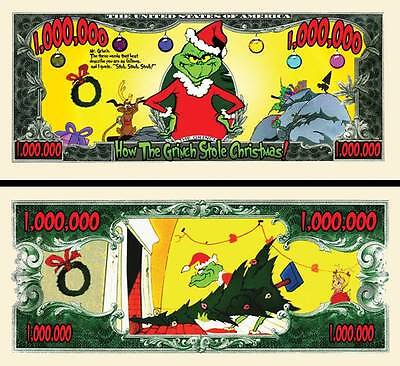 The Grinch Million Dollar Bill Fake Play Funny Money Novelty Note + FREE SLEEVE