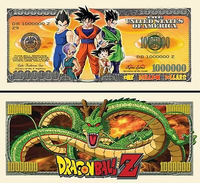 Dragon Ball Z Million Dollar Bill Fake Play Funny Money Novelty Note FREE SLEEVE