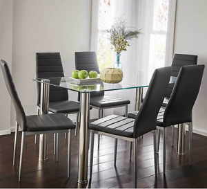 Glass top dining table with 6 black 'Zara' chairs Sutherland Sutherland Area Preview