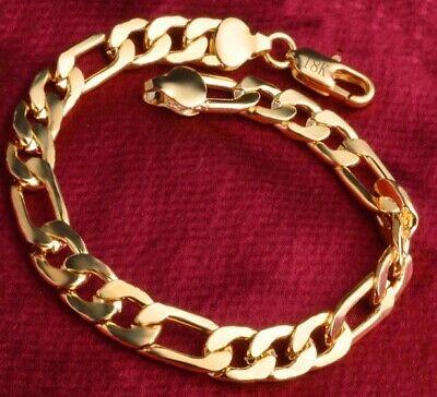 18k Yellow Gold Mens Womens Wide 8mm Figaro Cuban Curb Link Chain Bracelet D698 1