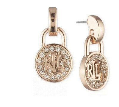 Lauren Ralph Lauren Rose Gold-Tone Crystal Logo Padlock Drop Earrings