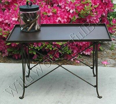 Rectangle Directoire Side Table Bronze Collapsible Accent Accordian Furniture