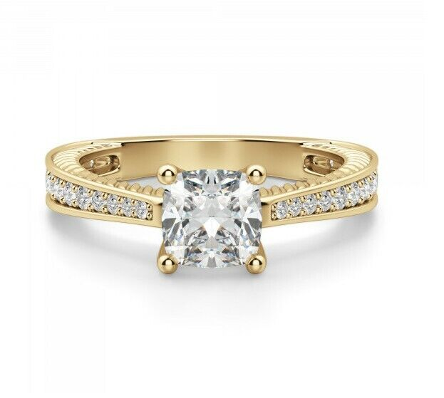 Sage Accented Cushion Cut Engagement Ring 0.56 carat 10k Gold Ring Size 7