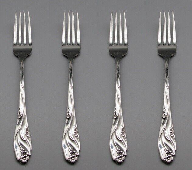 Oneida Stainless Damask Rose Flatware Dinner Forks Set of Twelve CUBE