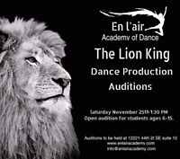 The Lion King Dance Production Auditions!