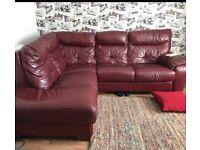 L shape corner leather maroon sofa can deliver
