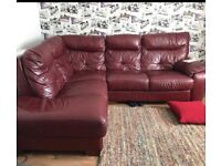 L shape maroon leather sofa can deliver
