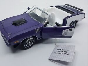 NEW & RARE FRANKLIN MINT 1971 PLYMOUTH CUDA 340 VIOLET 1/24