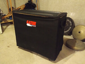 Road Case and Various XLR, TRS and Instrument cables