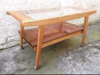 Vintage 50s 60s solid oak copper coffee table mid century retro