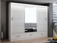 🔴🔵2 or 3 DOOR SLIDING WARDROBE🔴🔵BRAND NEW EXCLUSIVE MARSYLI FULL MIRROR + LED LIGHT IN 2 COLORS