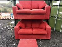 Red fabric suite with footstool (Delivery Included)