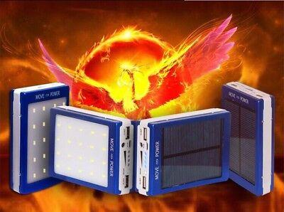 Chargeur Solaire Telephone Tablette Mp3/Mp4 2 Usb 30000 MAh + Lampe de Poche LED