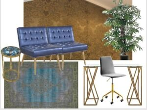 Side chairs, glass desk fake plant and large rug all brand new
