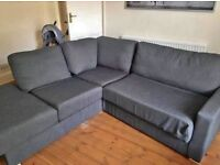 NABRU GREY CORNER SOFA AND SOFA BED - EXCELLENT CONDITION - MUST GO TODAY - CHEAP DELIVERY - £495