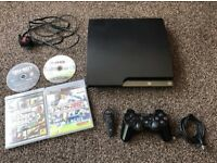 PlayStation 3 Slim 120GB, 4 games, controller and headset.