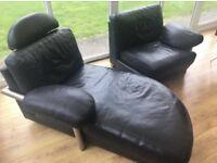 Swiss Artanova Black Leather Designer Sofa Lounger Couch Chair