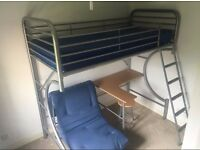 Metal high rise bunk bed, single frame with desk, chair and futon