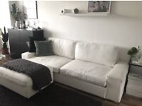 IKEA KIVIK WHITE 3 SEATER SOFA BED AND STORAGE FOOTSTOOL CAN DELIVER