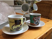 Espresso coffee cups and saucers with stand