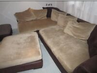 Lovely cosy corner sofa plus footstool - can deliver