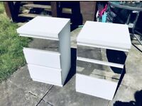 X2 pair matching white bedside tables