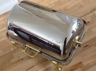 Lacor Chaffing Dish Roll Top 18/10 Stainless Steel With Brass Legs-69015 Rrp£650