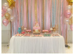 Backdrop, table skirt, centerpieces for babyshower, birthday,