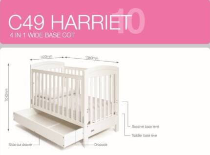 4-in-1 Cot Grotime C49 Harriet with mattress and bedding