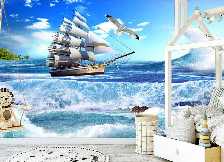 Details About 3d Ocean Beach Sailboat Self Adhesive Living Room Wallpaper Bedroom Wall Murals
