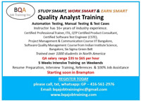 NEED QA SOFTWARE TESTING INSTRUCTOR PART TIME BRAMPTON