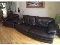 Brown Italian leather Three Piece Suite