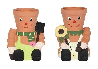 TWO x Extra Large Flower Terracotta Pot Couple Planters Scarf Sunflower Garden