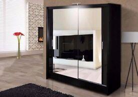 💥Superb Black Walnut White Finish💥New Full Mirror 2 Door Berlin Sliding Wardrobe w Shelves,Hanging