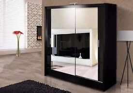 SUPERBB DISCOUNT::50% OFF:: CHICAGO 2 DOOR SLIDING WARDROBE WITH FULLY MIRRORED IN WHITE AND WAULNET