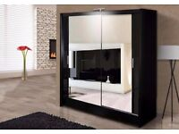 Exclusive Offer -- Berlin 2 Door Sliding Wardrobe Full Mirror, Shelves, Hanging Rails High Quality