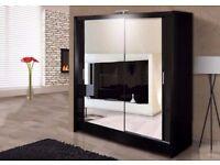 ❋★❋ 120 CM WIDTH ❋★❋ German Berlin Full Mirror 2 Door Sliding Wardrobe w/ Shelves, Hanging
