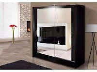 AMAZING OFFER!! 2 DOOR -- BRAND NEW SLIDING DOOR WARDROBE IN BLACK AND WHITE - GET IT TODAY