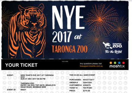 2 Gold Tickets Taronga Zoo Sydney New Year