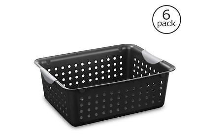 Storage Basket Plastic Organizer Bin Black Laundry Hamper Washing Sorter 6-Pack