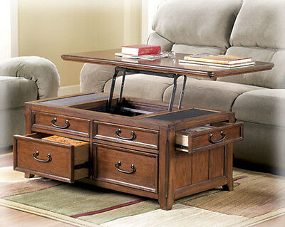 Coffee Table W Lift Top Trunk Flip Up Storage Drawers Wood Cocktail Tables Desk - Flip Top Trunk