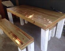 Table and bench seats shabby chic rustic bar cafe indoor outdoor Highland Park Gold Coast City Preview