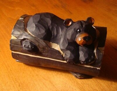 Black Bear Trinket Jewelry Box Figurine Rustic Faux Wood Carved Log Cabin Decor - Bears Decorations