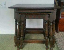 Set of 3 antique oak nest of tables