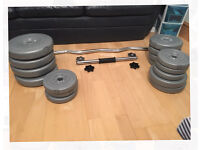 Weight set (42.5kg) with 1 dumbbell and and an E-Z curl barbell