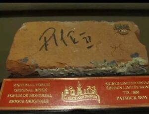 Brick From Old Montreal Forum Signed By Patrick Roy
