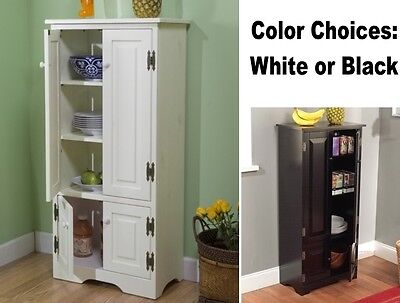 Tall Kitchen Cabinet Cupboard Bathroom Linen Cabinets Country Closet White Black